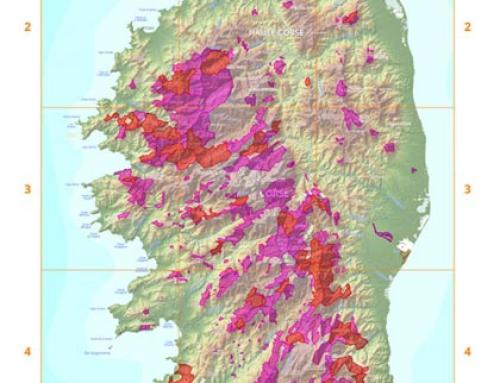 Forêts Corse sur carte hypsométrique (données Shape)